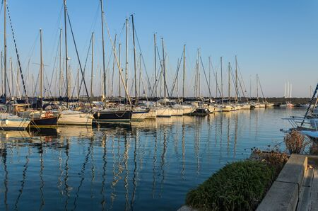 Luxury sailing yachts in port