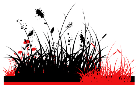 black and red silhouette of a grass in east style