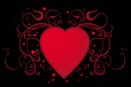 red heart on a black background Vector