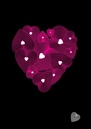 decorative pattern from pink hearts on the valentines day Vector