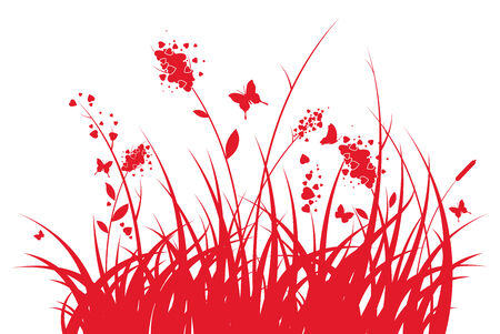 Silhouette of a grass with hearts and butterflies at valentines day Vector