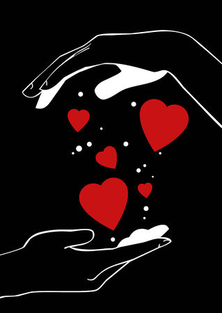 woman fist: hands and red hearts