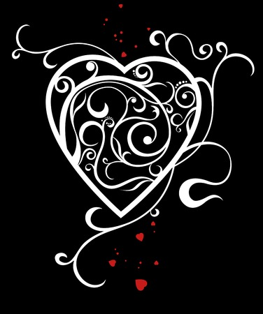 white heart with a decorative pattern on a black background Illustration