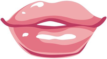 roze lippen op een witte achtergrond