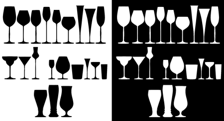 complete set of glasses for alcoholic drinks Illustration