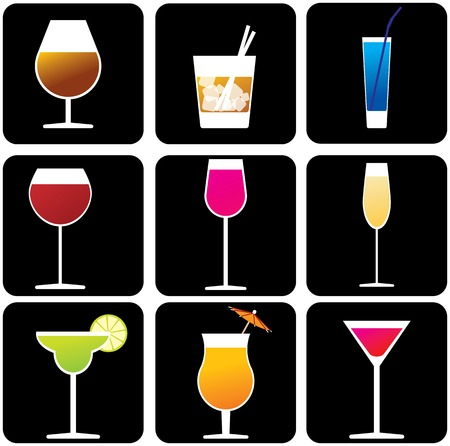 Glasses with alcoholic drinks Vector