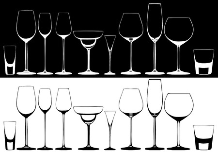 Set of glasses for alcoholic drinks Vector