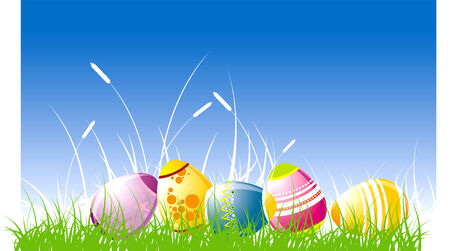 The painted easter eggs in a grass