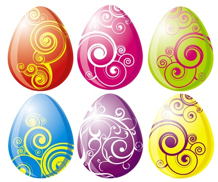multi-coloured painted easter eggs Vector