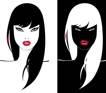two glamour girl with red lips