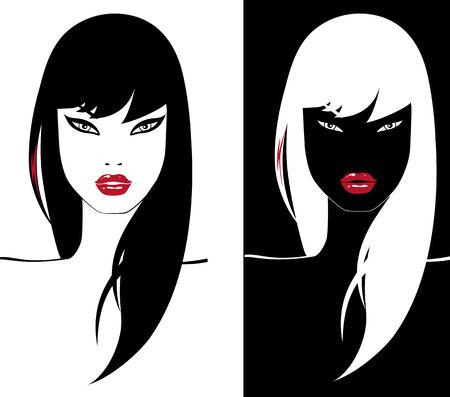due glamour ragazza con labbra rosso