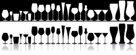 Set of glasses for alcoholic drinks Illustration