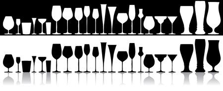 Set of glasses for alcoholic drinks Illustration