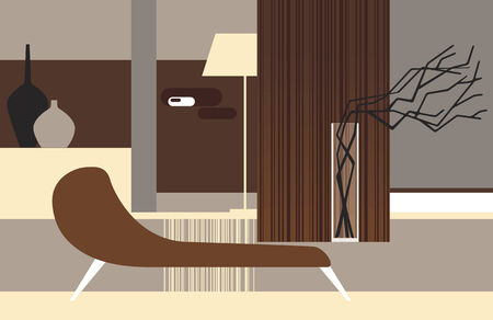 living room design: Interior of a room in retro style with dry branches