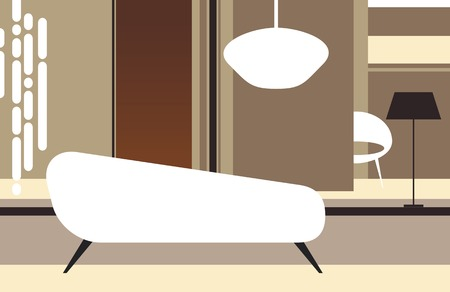 Interior of a room in retro style with a white sofa Illustration