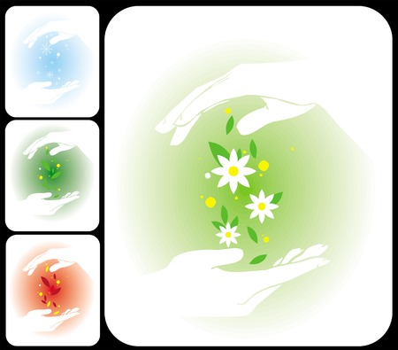 elemennty of four seasons on hands Stock Vector - 4220324