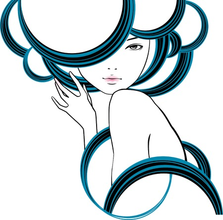 portrait of girl is in style of modern Stock Vector - 4269057