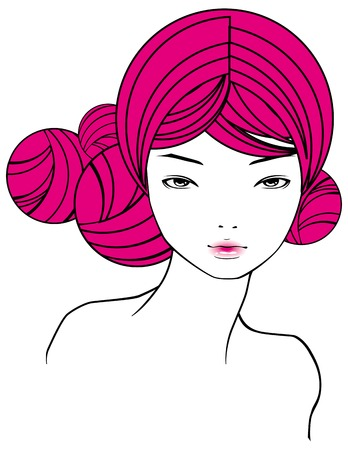 portrait of girl with pink hairs Illustration