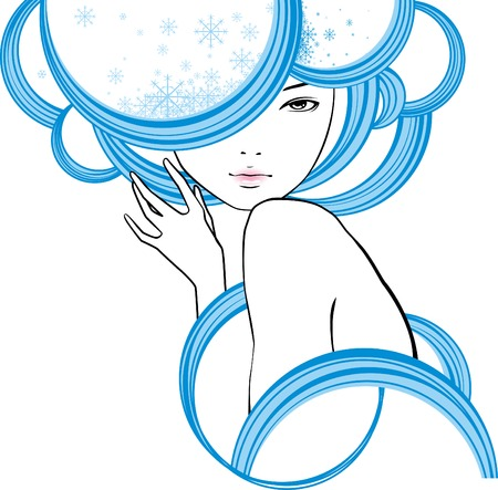 portrait of girl is in style of modern with snowflakes in hair Vetores