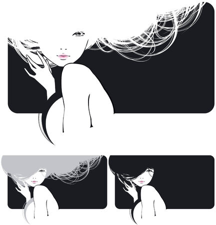 beautiful girl with a flowing hair Illustration
