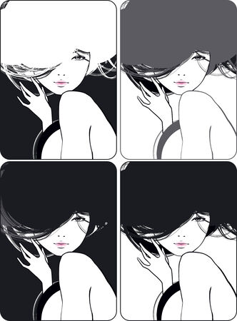 beautiful girl with a flowing hair Stock Vector - 7154890