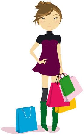 Morena de las mujeres con algunas bolsas de la compra