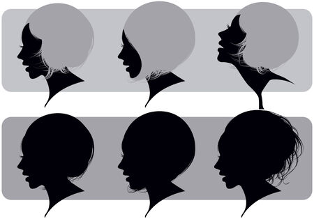 Silhouette of a female head with various hairdresses Stock Vector - 7186985