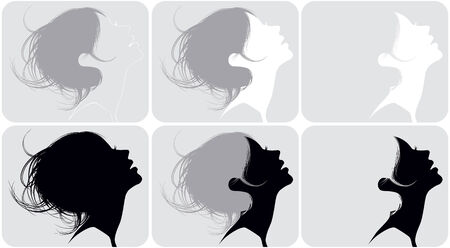 Silhouette of a female head with various hairdresses