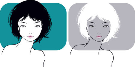 The beautiful girl with a short hairstyle Vector