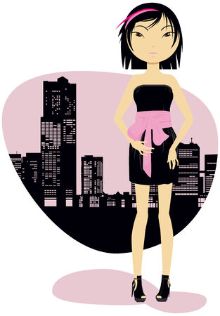 The girl in a black dress against a city silhouette Illustration
