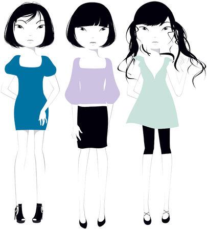 Tres hermosas chicas con cabello negro