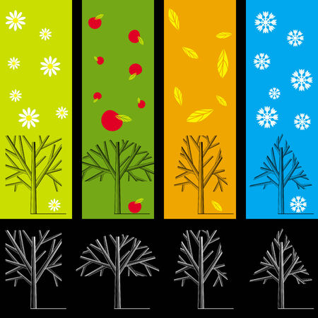 Silhouettes of trees during different seasons Stock Vector - 8180443