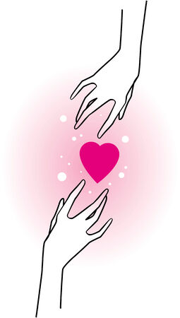 arms open: hands and pink hearts