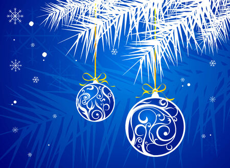 evening ball: a christmas background is in blue tones Illustration