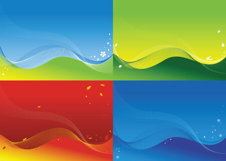 Four backgrounds on a theme of four seasons Illustration
