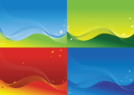 quatre saisons: Quatre milieux sur un th�me de quatre saisons Illustration
