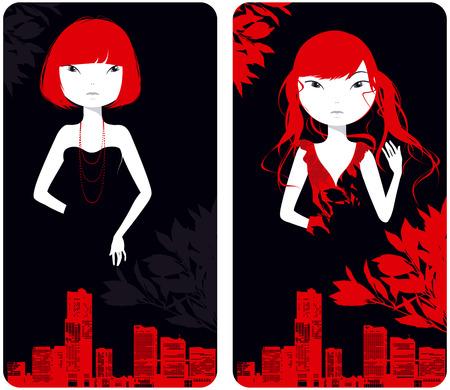 Beautiful girls against city buildings in red tones Vector