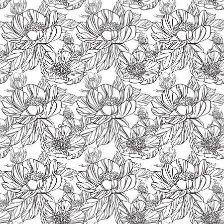 simplicity: Patrón transparente en estilo retro con flores negras y fondo blanco