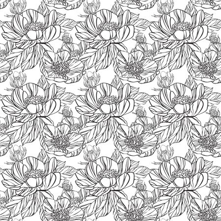 Seamless pattern in retro style with black flowers and white background
