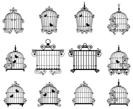 oiseau dessin: Silhouette d'une des cages � oiseaux d�coratifs Illustration