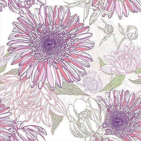 lily flower: Naadloze patroon in retro stijl met bloemen Stock Illustratie