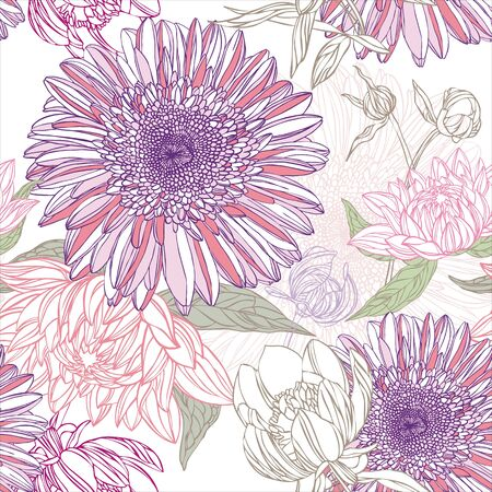 lily flowers: Seamless pattern in retro style with flowers Illustration