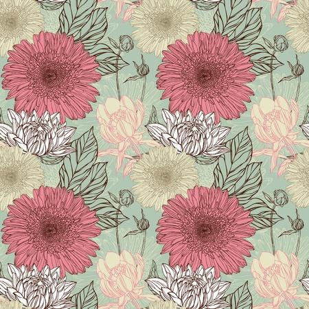 antiek behang: Naadloze patroon in retro stijl met bloemen Stock Illustratie