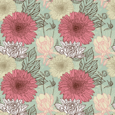 nature wallpaper: Seamless pattern in retro style with flowers Illustration