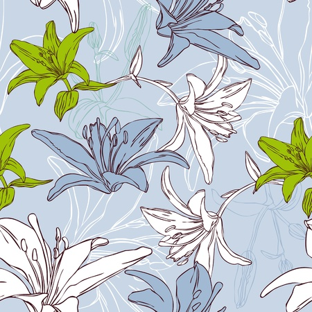 floral seamless pattern with lily Vector
