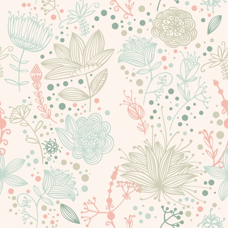 flower and Leaf retro Pattern  Illustration