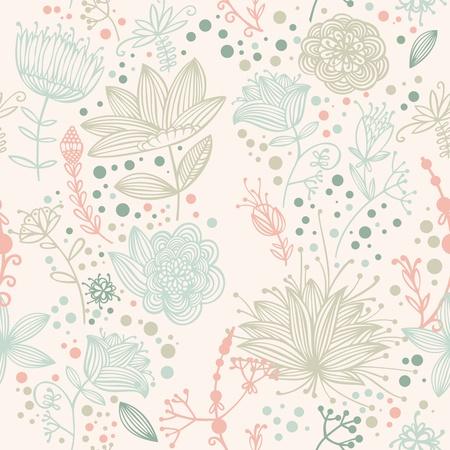 flower and Leaf retro Pattern  Illustration