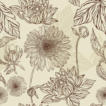 muguet fond blanc: Fleur de patron sans soudure et de feuilles de style r�tro