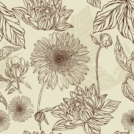 vintage styled design: Seamless pattern  flower and leaf in retro style