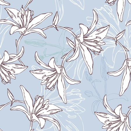 floral seamless pattern with lily Illustration